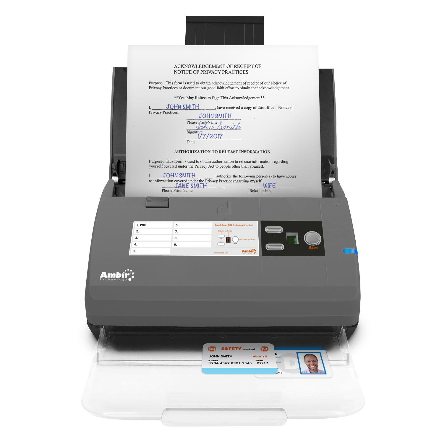 Ambir ImageScan Pro PS667 Pass Through Scanner ~ Card//ID