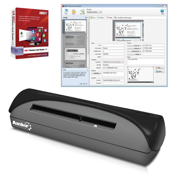 Simplex ID Card Scanner w/ Abbyy Business Card Reader (PS667-BCR ...